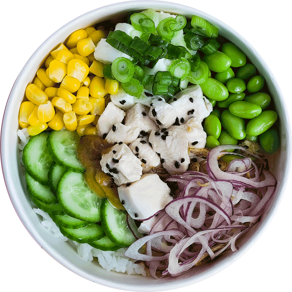 Steamed chicken poké bowl