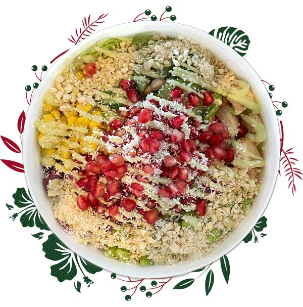 A poké bowl with festive colours